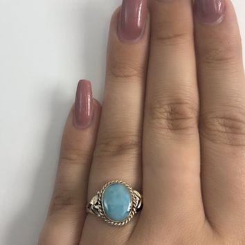 Larimar Oval Sterling Silver Ring