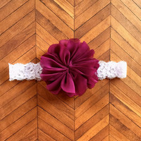 Baby Headband.Flower Headband.Baby Girl Headband.Purple Flower.Plum.Lace Headband.Infant Headband.Newborn Headband.Photo Prop.Baby Girl Bow