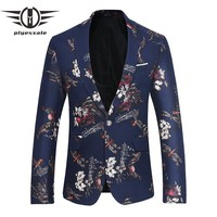 Blazer Men Autumn Animal Dragonfly Flower Pattern Men Printed Blazer Male Casual Blazers Jacket Prom Wear