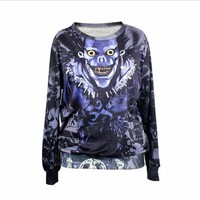 Death Note Print Women 's Hoodies Ryuk Shinigami Sweatshirts Anime Cosplay Long Sleeve Hoodies Casual Costume Halloween clothing