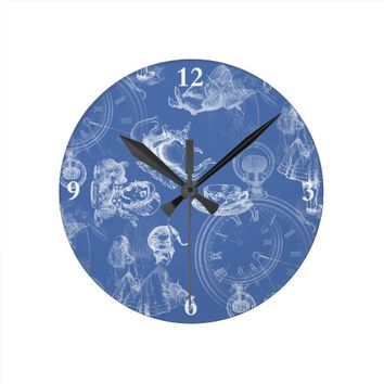 Alice in Wonderland Teatime Blue Clock