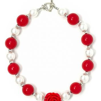 Red White Chunky Necklace
