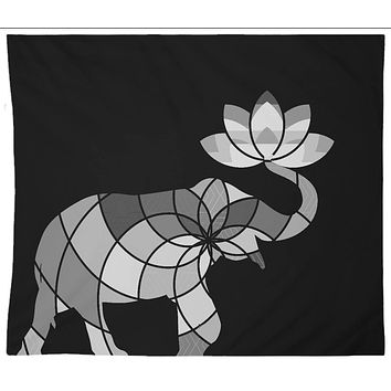 Reiki Charged Lucky White Elephant Black and White Tapestry Wall Hanging Indian With Lotus Flower