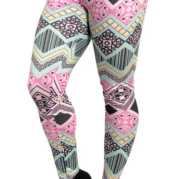 BadAssLeggings Women's Aztec Leggings Medium Pink & Aqua