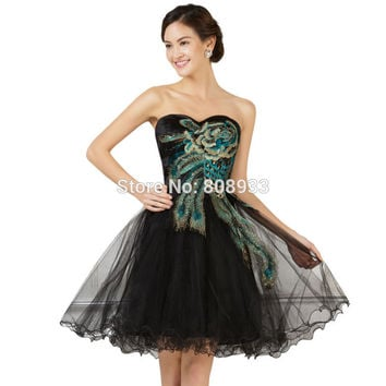 2015 New Fashion Handwork Peacock Pattern Sweetheart Sexy Ball Gown Tulle Short Prom Dress Embroidery Evening Party Gown 007540