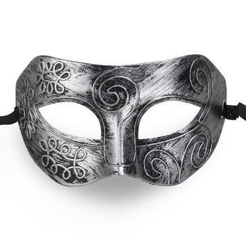 MUSEYA Cool Adult Men Greek Roman Fighter Masquerade Face Mask for Fancy Dress Ball / Masked Ball / Halloween (Silver)