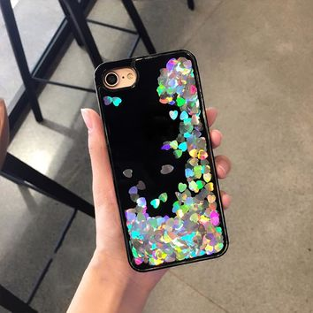 Luxury Glitter Liquid Quicksand Love Sequins Phone Cover Case