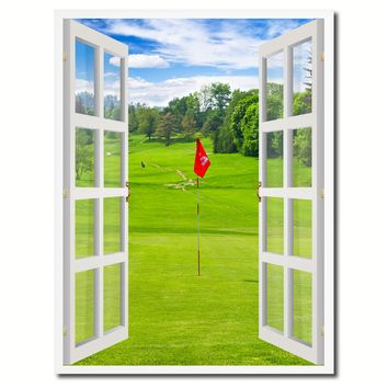 Landscape Golf Field Picture French Window Canvas Print with Frame Gifts Home Decor Wall Art Collection