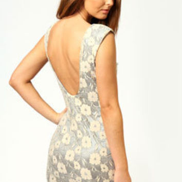 Emma V Back Metallic Lace Bodycon Dress