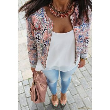 Bohemian Printing Slim Utility Jacket Zipper Casual Autumn Spring 2018 New Women Jacket Casual Full Sleeve Coat Outwear Outfits
