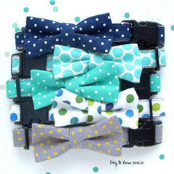Navy, Teal, Gray Polka Dot Dog Collar with Removable Bow Tie