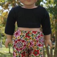 18 inch doll clothes floral, Harem, dance, yoga pants, and black crop top, american girl, maplelea