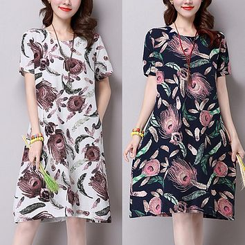 Plus Size S-5XL Women Summer Dresses Autumn Cotton Linen Loose O-neck Short Sleeve Print Midi Dress Chinese Vintage Vestidos