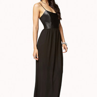 FOREVER 21 Faux Leather Chiffon Maxi Dress Black