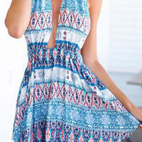 Blue and White Printed Halterneck Cover-Up