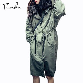 Trench Women 2017 Timechee Casual Loose Hooded Long Adjustable Waist Coat Cool New Spring Female Raincoat LYY0189