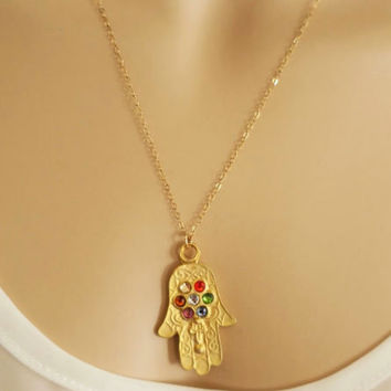 Hamsa Necklace, Gold Fill Birthstone Crystal Necklace, Good Luck Charm Pendant, Hand of Fatima, Delicate Necklace, Everyday Necklace, Gift