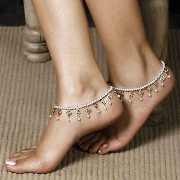 Fashion Retro Jewelry Exquisite Pearl String Beads Elasticity Tassel Anklets