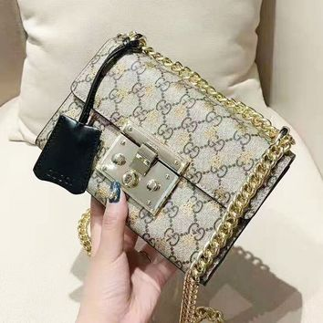 GUCCI women's high-end bee small lock spell leather chain bag small square bag messenger bag