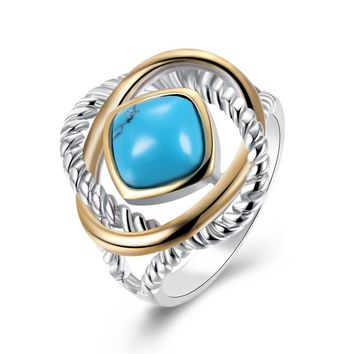 INALIS Brand Jewelry Women Turquoises Ring Square Shape Blue Natural Stone Metal Charm Anniversary Ring for Wife Gilrfriend Gift
