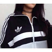 """Adidas"" Women Fashion Casual Long Sleeve Zip Cardigan Jacket Coat Sweatshirt G"