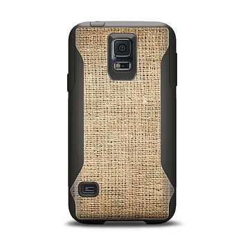 The Woven Fabric Over Aged Wood Samsung Galaxy S5 Otterbox Commuter Case Skin Set
