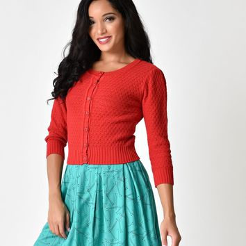 Retro Style Red Button Three-Quarter Sleeve Crochet Cardigan