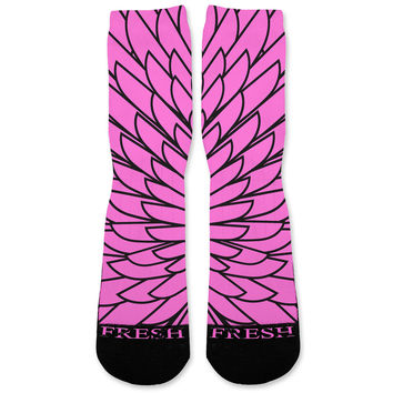 Wings Pink 8 Custom Athletic Fresh Socks