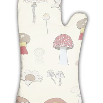 Oven Mitt, Mushrooms Pattern