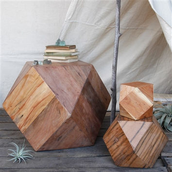 Icosahedron Wood Block - Lrg - Natural