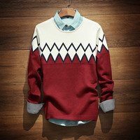 Mens Warm Comfortable Soft Geometric Sweater