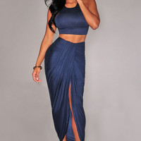 Navy Blue Sleeveless Bodycon Cropped Top with Ruched Maxi Slit Skirt Set