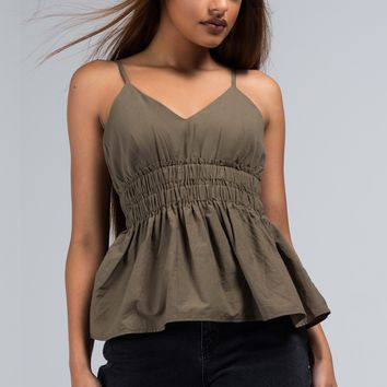 Spaghetti Strap Sweetheart Neckline Tank Top with Ruched Middle and Peplum Hem in Olive