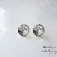 Handmade Moon Tiny Stud Earrings Post Earrings Full Moon jewellery gift present  Silver color jewelry 12 mm 14mm circle