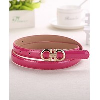 FERRAGAMO 2018 summer new wild leisure women's paint belt F0448-1 Rose red