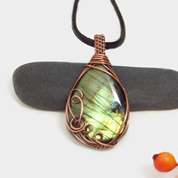 Unique wire wrapped Labradorite necklace, green Labradorite pendant, copper wire wrap, black leather necklace, unique necklace for women