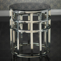Polished Steel and Glass Round Table