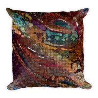 Burgundy Abstract Square Throw Pillow