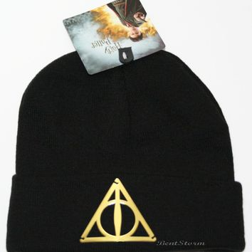 Licensed cool Harry Potter & Deathly Hallows Metal Logo Knit Watchman Beanie Stocking Cap Hat