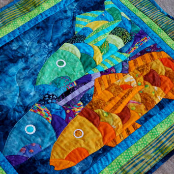 Wall Art Quilt Wall Hanging Tropical Fish Beach House Applique OOAK Handmade Blue Orange Green