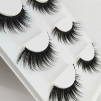 HBZGTLAD New 3 pairs natural false eyelashes fake lashes long makeup 3d mink lashes extension eyelash mink eyelashes for beauty
