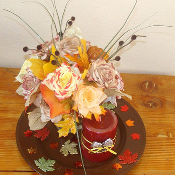 Floral Arrangement, Brown, yellow, Wedding centerpieces, Silk flowers, Fake flower decor, home decor, paper roses, coffe filter flowers