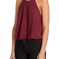Burgundy Suede Halter Top-FINAL SALE