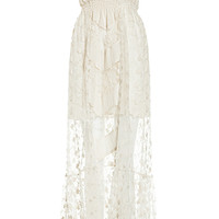 DailyLook: Line & Dot Embroidered Lace Tube Maxi Dress