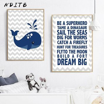NDITB Whale Wall Art Canvas Painting Minimalist Posters and Prints Nursery Nordic Kids Decoration Pictures Boys Bedroom Decor