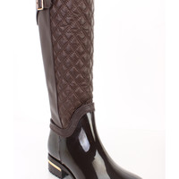 Brown Quilted Riding Rain Boots Faux Leather PVC