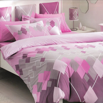 Pink Dorm Bedding, Argyle Checked Print Bedding Set in Pink , Grey Plum Violet - 4 piece Set of Duvet Cover, Flat Sheet, Sham & Pillow Case