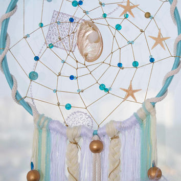 Shells Blue Dream Catcher Sea Dreamcatchers Boho style Dreamcatcher Turquoise Feathers  Wall hanging Wall decor Wedding decor Hippie Gypsy