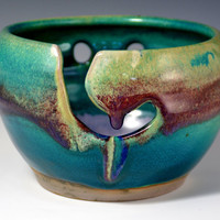 Small Yarn Bowl. Knitting Bowl - IN STOCK - Ready to Ship - Purple and turquoise Glaze