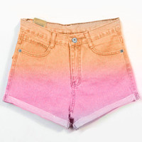 High Waisted  Orange Pink Ombre Dyed Shorts
